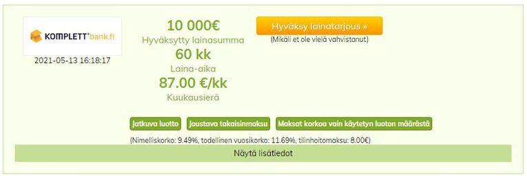 kulutusluotto tarjous komplett bankilta