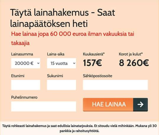 Omalaina.fi lainahakemus